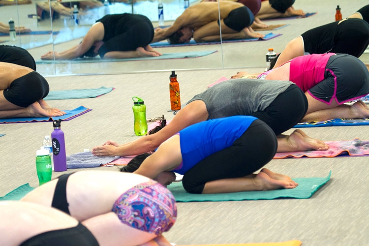 yoga mat towels in use